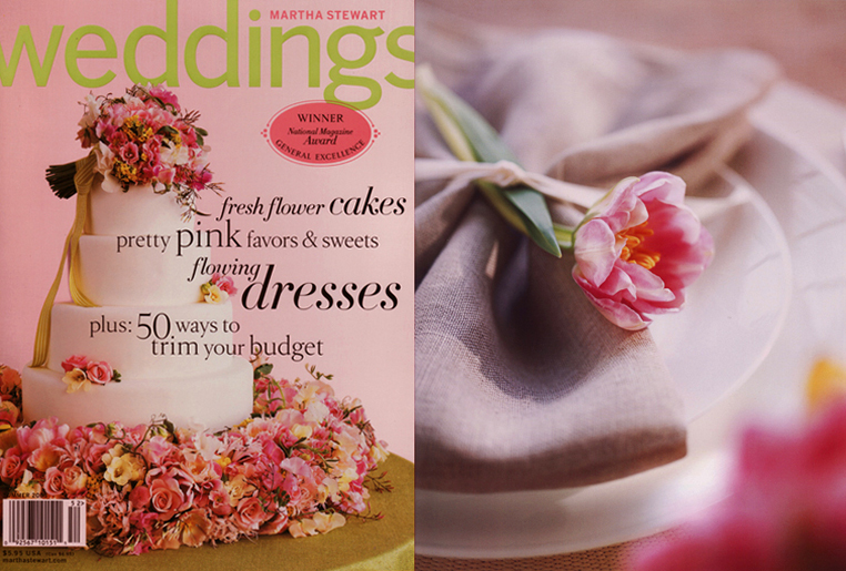 Martha Stewart Wedding Cake Flower Bouquet Cover and William Sonoma Bride and Grrom Entertaining Flower Napkin Table Setting