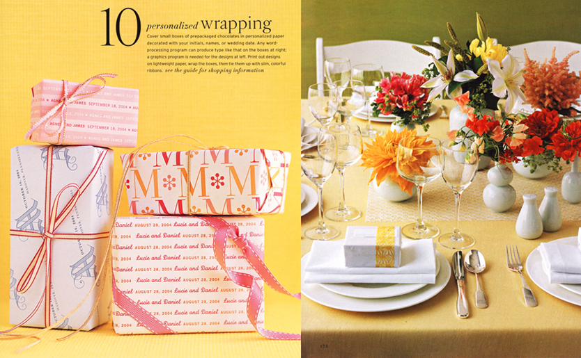 Martha Stewart Weddings Favor Boxes and Martha Stewart Weddings Colorful Table Setting Centerpiece
