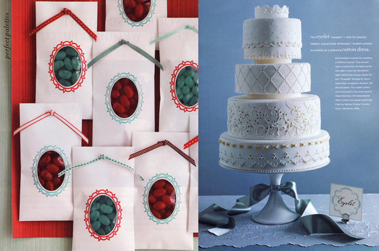 Martha Stewart Weddings Aqua and Red Wedding and Party favor and Martha Stewart Weddings Lace Eyelit Wedding Cake