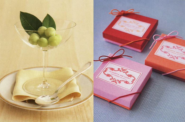 Martha Stewart Weddings Frozen Grapes Glass and Martha Stewart Weddings and Party Favor Boxes