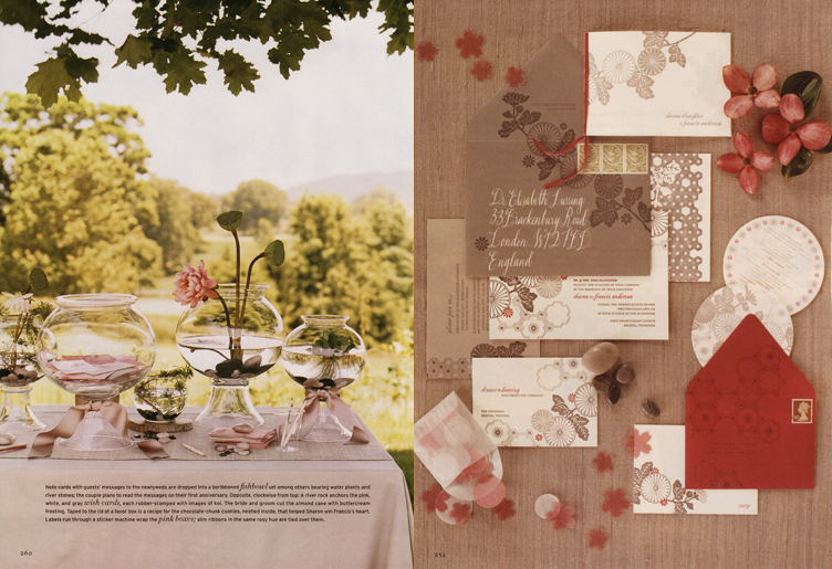 Martha Stewart Weddings Sharon Slaughter Guest Book Table Setting and Martha Stewart Weddings and Sharon Slaughter Stationery Invitations